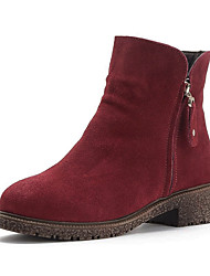 Women's Boots Fall Winter Other Leather Suede Casual Low Heel Lace-up Black Brown Gray Other