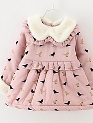 Girl's Casual/Daily Print Dress,Blended Cotton Winter Long Sleeve
