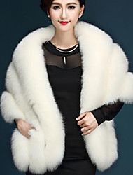 Women's Casual/Daily Simple Fur Coat,Solid V Neck ¾ Sleeve Winter / Autumn Pink / White / Black / Gray Fox Fur
