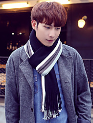 Men Vintage Casual Long Color Stitching Autumn and Winter Warm Knitted Wool Stripes Scarves Tassel Shawl