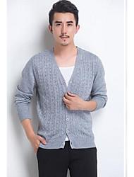 Men's Casual/Daily Simple Regular Cardigan,Solid Blue / Red / Gray V Neck Long Sleeve Wool Spring Medium Micro-elastic