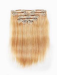 7 шт / комплект клип в наращивание волос цвет рояля смешанный клубника отбеливатель блондинка 14inch 18inch 100% человеческих волос для