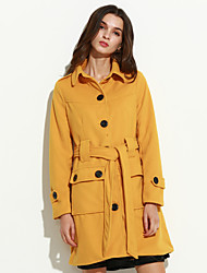 Women's Going out Simple Coat,Solid Shirt Collar Long Sleeve Winter Red / White / Black / Yellow Acrylic Thick