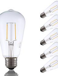 2W E26 Lâmpadas de Filamento de LED ST19 2 COB 220 lm Branco Quente Regulável / Decorativa AC 110-130 V 6 pçs