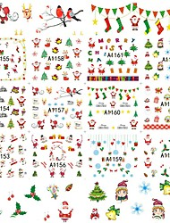 1sheet, 12designs Nail Sticker Art Autocollants de transfert de l'eau Maquillage cosmétique Nail Art Design