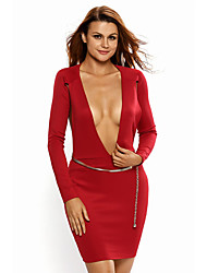 Women's Backless Open Back Long Sleeve Belted Mini Dress