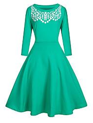Gaine Robe Femme Grandes Tailles simple,Imprimé Col Arrondi Mi-long Manches ¾ Bleu / Rouge / Vert Coton Automne Taille Haute