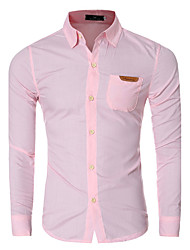 Men's Casual/Daily Simple Spring / Fall ShirtSolid / Patchwork Shirt Collar Long Sleeve y Cotton Medium hot sale