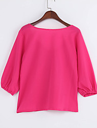 Women's Casual/Daily Simple Fall Shirt,Solid Round Neck Long Sleeve Blue / Red / Black / Orange / Yellow Others Opaque