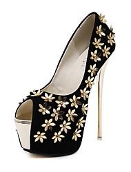 Women's Heels Fall Platform Leatherette Dress Stiletto Heel Flower Black