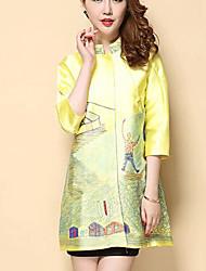 Feminino Casaco de Trench Casual / Tamanhos Grandes SimplesEstampado Azul / Amarelo PoliésterManga ¾