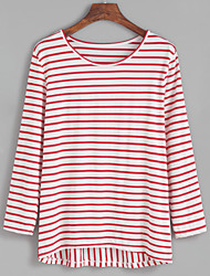Damen Gestreift Sexy / Niedlich / Street Schick Lässig/Alltäglich / Arbeit / Ausgehen T-shirt,Rundhalsausschnitt Frühling / Herbst Langarm