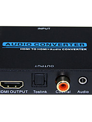 Audio Converter HDMI to HDMI Audio Converter 1080P 3D HDMI Input to HDMI Toslink Coaxial Audio Output Metal