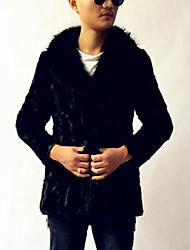 Masculino Casaco de Pêlo Casual Simples Inverno,Sólido Preto Pêlo Sintético Colarinho Chinês-Manga Longa Grossa