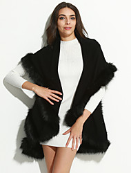 Women's Casual/Daily Simple Coat,Solid V Neck ½ Length Sleeve Winter Multi-color Fox Fur Medium