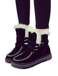Women's Boots Winter Comfort Fleece Casual Flat Heel Black Green