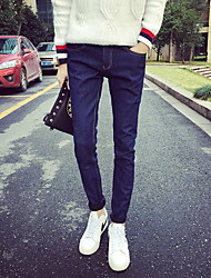 Men's Straight Jeans Pants,Casual/Daily Simple Solid Mid Rise Zipper Polyester Micro-elastic Fall / Winter