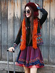 Damen Übergrössen Röcke,A-Linie Muster Jacquard,Lässig/Alltäglich Boho Mittlere Hüfthöhe Mini Elastizität Kunstseide / Polyester
