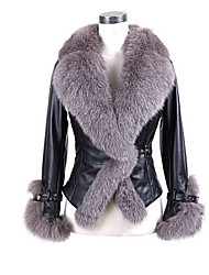 Women's Beach / Party/Cocktail / Holiday Sexy / Cute / Chinoiserie Coat,Solid V Neck Long Sleeve Fall / Winter Gray Fox Fur Medium