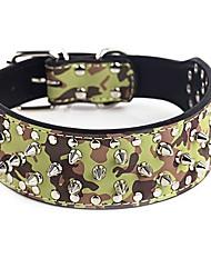 Perros Cuello Ajustable/Retractable / Tachonado Piedra Verde / Marrón / Morado Cuero PU