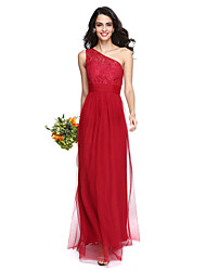 Lanting Bride® Floor-length Lace / Tulle Elegant Bridesmaid Dress - Sheath / Column One Shoulder with Ruching