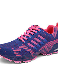 Women's Athletic Shoes Comfort Fall Winter Breathable Mesh Tulle Fabric Running Shoes Athletic Outdoor Lace-up Flat Heel Purple Fuchsia
