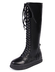 Women's Boots Fall / Winter Gladiator / Comfort / Ankle Strap PU Office & Career / Dress / Casual Flat Heel Zipper / Lace-up Black Others