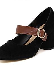 Damen-High Heels-Kleid-Vlies-BlockabsatzSchwarz