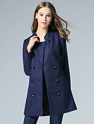 MMLJ Women's Casual/Daily Simple CoatSolid Stand Long Sleeve Winter Blue Polyester
