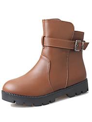 Women's Boots Winter Platform PU Casual Flat Heel Platform Button Black Brown Walking