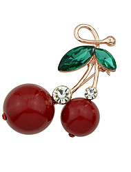 New Cute Rhinestone Cherry Shape Brooches Jewelry