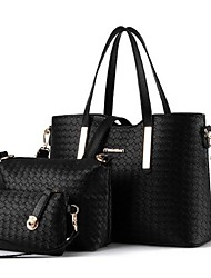 M.Plus® Women's Knit Plaid PU Leather Messenger Shoulder Bag/Tote