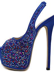 Damen-High Heels-Kleid Lässig Party & Festivität-Leder-Stöckelabsatz-Plateau Komfort-Schwarz Blau