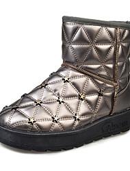 Women's Boots Winter Comfort PU Casual Flat Heel Rivet Black / Silver / Gray Walking