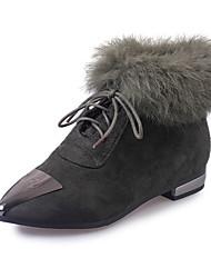 Women's Boots Winter Comfort Cashmere Casual Low Heel Metallic toe Black Green Walking