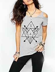Damen Geometrisch / Buchstabe Einfach Lässig/Alltäglich T-shirt,Rundhalsausschnitt Alle Saisons Kurzarm Grau Polyester Dünn