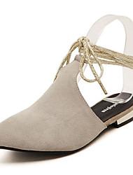 Feminino-Sandálias-Chanel-Rasteiro-Preto / Amêndoa-Couro de Porco-Casual