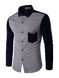 Masculino Camisa Casual / Trabalho / Tamanhos Grandes Simples Inverno,Colorido Azul / Marrom / Cinza / Verde / Amarelo AlgodãoColarinho
