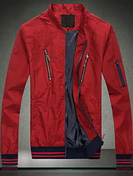 Men's Going out / Casual/Daily Simple Jackets,Solid Stand Long Sleeve Summer Red Cotton