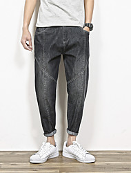 Men's Loose / Harem Jeans Pants,Casual/Daily Simple Solid Mid Rise Zipper Cotton Inelastic Spring