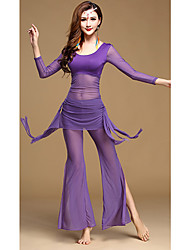 Belly Dance Outfits Women's Training Tulle Milk Fiber Draped 2 Pieces Long Sleeve Dropped Top Pants