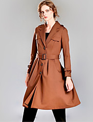 INPLUS LADY Women's Casual/Daily Simple / Street chic Trench CoatSolid V Neck Long Sleeve Winter Black / Brown Rayon / Acrylic Medium