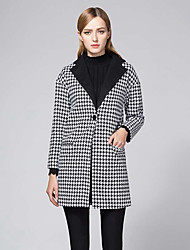 Women's Elegant Peaked Lapel Houndstooth Work Slim Coat Long Sleeve