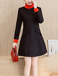 Women's Elegant Slim chic A Line DressSolid Turtleneck Above Knee Long Sleeve Red / Black Polyester Winter High Rise Micro-elastic