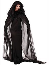 Sorcier/Sorcière Fête / Célébration Déguisement Halloween Noir Couleur Pleine Robe / Ceinture / Coiffure Féminin Polyester