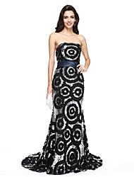 TS Couture® Evento Formal Vestido - Brilho & Glitter Tubinho Tomara que Caia Cauda Corte Paetês com Faixa / Fita / Lantejoulas
