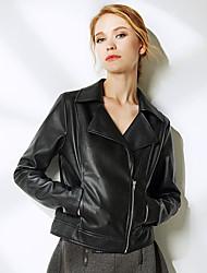 NAKED ZEBRA  Women's Casual Street chic JacketsSolid Shirt Collar Long Sleeve Winter Black / Brown PU