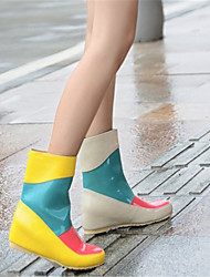 Women's Boots Fall Winter Comfort Patent Leather Casual Wedge Heel Split Joint Black Yellow Beige Others