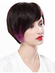 Hightlight Fashion Brown Mixed Purple Synthetic Wig with Side Bang Hot Sale for European and American Ladies Daily Wearing Heat Resistant