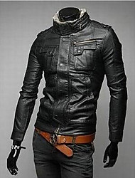 Men's Casual/Daily Simple Leather Jackets,Solid Stand Long Sleeve Spring / Fall Black / Brown PU